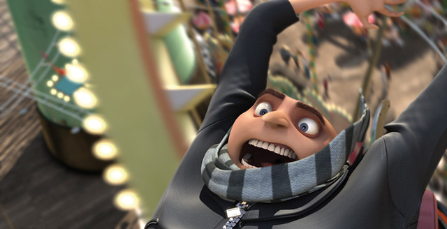 Gru (Steve Carell) takes a roller coaster ride in 'Despicable Me'.