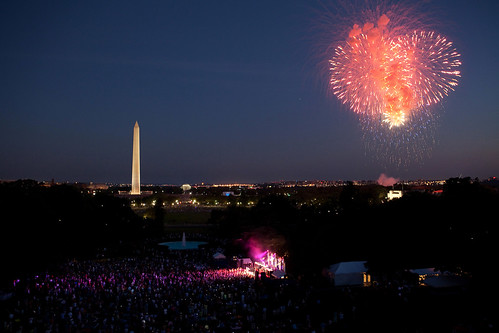 Fireworks begin as the Killers perform on the South Lawn of the White House, July 4, 2010, during the Fourth of July celebration. (Official White House Photo by Pete Souza)