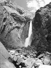 Lower Yosemite Falls (pjink11) Tags: california summer blackandwhite creek waterfall nationalpark olympus 2009 yosemitevalley e500 loweryosemite yosemitenp zd1445mm flickrestrellas vispix