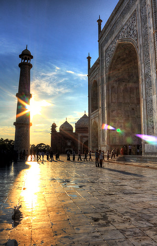 Taj Mahal, sunset approaching