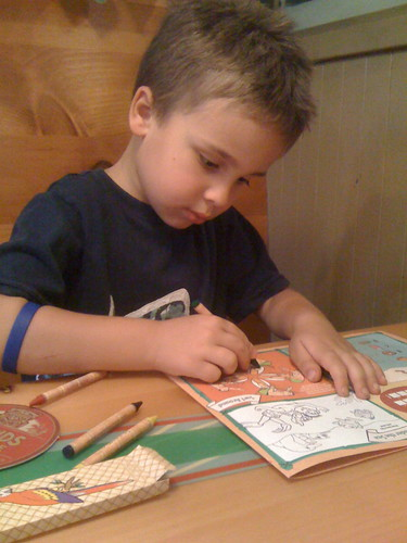 Ezra doing puzzles at Islands