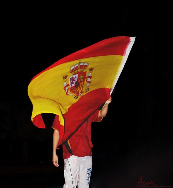 Dmytro tras la bandera.