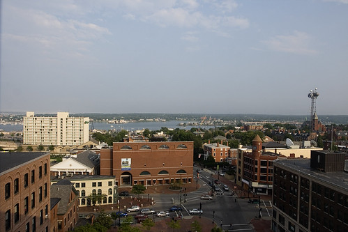 The view of the Portland waterfront from our room on the top floor of the Eastland Park Hotel.