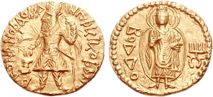 A Rare and Highly Important Kushan Gold Dinar of Kanishka I, the Fourth Known Gold Dinar with a Depiction of The Buddha