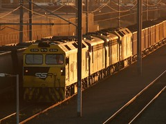 sunset arrival (sth475) Tags: old railroad autumn sunset classic train golden clyde gm diesel railway loco australia bulldog nsw locomotive ssr coal freight b61 coveredwagon innerharbour gclass streamliner illawarra bclass emd b65 cabunit g513 g514 auscision