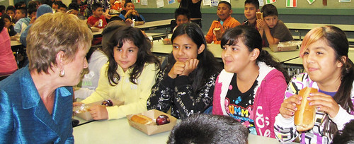 USDA Deputy Under Secretary Janey Thornton talks with children participating in the Summer Food Service Program at Calabasas Elementary School in Watsonville, California.