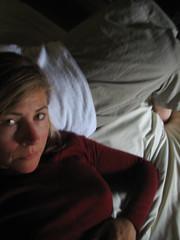 Villa E's bedroom n2 (Ladybadtiming) Tags: red white selfportrait me girl lady finland dark bed helsinki holidays nap towel sheets elbows villae