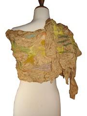 Tuscany Nuno Felted Silk Scarf (realfaery) Tags: scarf cypress accessories yellowmustard scarflette europeanstreetteam beigegoldengreen olivetreetoscana italyindia terracottasilver