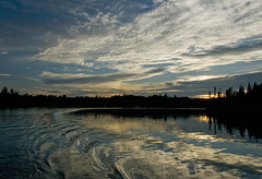 Love the Night (Canadapt) Tags: light sunset lake reflection water silhouette clouds wake keefer vanagram canadapt