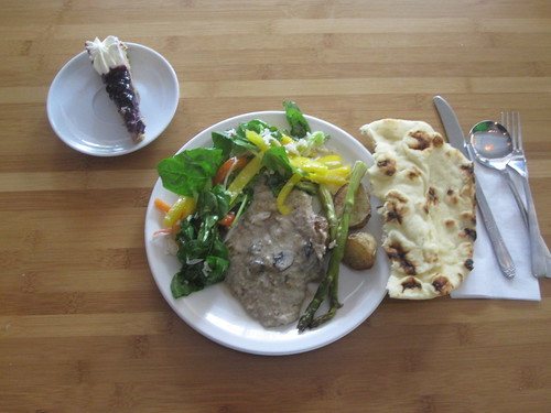 Veal in white wine sauce, salad, bread, pie from the bistro - $6