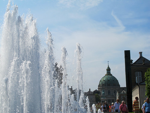 Fountain and Cathedral - Copenhagen, Denmark