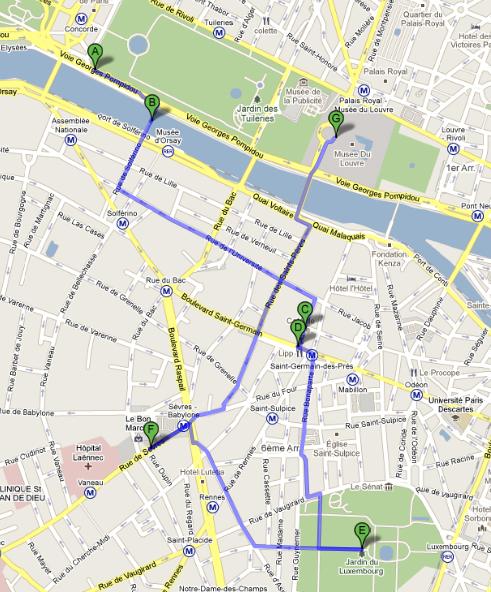 Mapa Passeio Paris