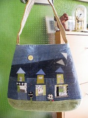 """""""flying roofs and other insanities"""" (monaw2008) Tags: roof house tree bag quilt handmade embroidery jeans fabric patchwork applique handbag upholstery reused shoulderbag handstitching recyceled monaw monaw2008 upcyceled"""