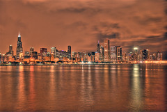 Skyline HDR (Srichand Pendyala) Tags: longexposure chicago abstract building beach home colors night clouds buildings lights illinois nikon downtown bright searstower experiment milleniumpark creepy lightning nikkor hdr mustsee d60 1855mmvr
