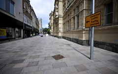 Diverted Traffic - Down The Side Of The Old Library?!? (Stuart Herbert) Tags: uk southwales wales europe shoot stu cardiff location projects sigma1020mmf456exdchsm cardiffcitycentre merthyrroad projectdocument slowtransformationofstmarysstreet