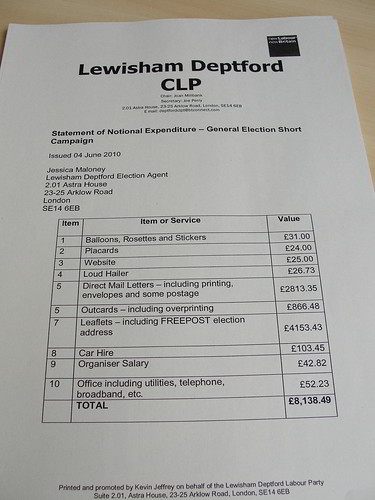 Election expenses from the Joan Ruddock (Labour) campaign in Lewisham Deptford 2010