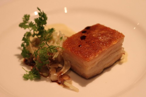 confit belly of pork with baked apple puree, apple balsamic