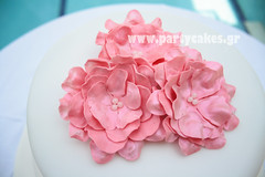 Wedding cake (Party Cakes By Samantha) Tags: pink flowers wedding 2 white cake lemon chocolate special swirl ribbon edible occasion tier drizzle ganach