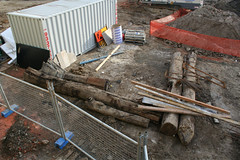 Timber piles extracted from the ground? (Marcus Wong from Geelong) Tags: construction geelong broughamstreet transportaccidentcommission tacbuilding