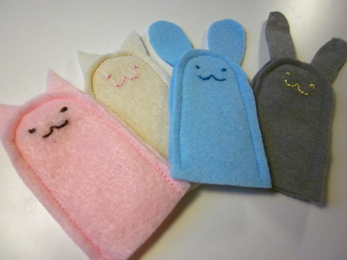 My finger puppets in soft colors.