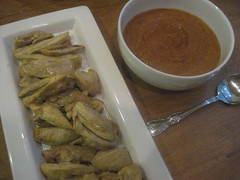 Chicken satay with red curry peanut sauce