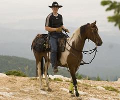 David and Mindy (Highway of Life) Tags: horses horse cali mare ride trail arab mindy arabian equestrian equine pinto trailride mtspokane nationalshowhorse saddlebred tobiano nsh partbred nationalshow cacaligirl mtspokanetrailride