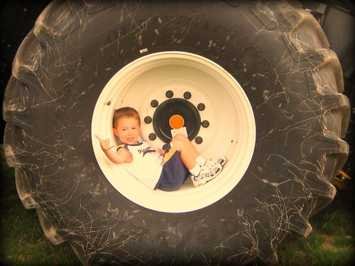 A boy in a tire 2