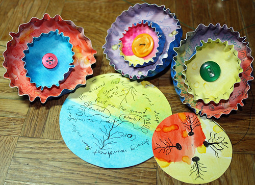 Vinyl flowers with doodles