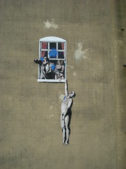 Banksy (Sophie_May_) Tags: art window wall mystery bristol photography paint flickr artist grafitti famous banksy paintball iconic ruined sophiemay sophiemayphotography