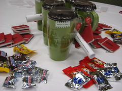 RedPlum Swag (maggs813) Tags: candy coffeemug timhortons notebooks redplum blogher10
