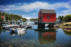 Stonehurst Cove, Near Blue Rocks (sminky_pinky100 (In and Out)) Tags: travel blue red white canada texture tourism water reflections landscape boat fishing rocks pretty novascotia scenic colourful dory southshore bluerocks greatphotographers supershot kartpostal omot cans2s stonehurstcove