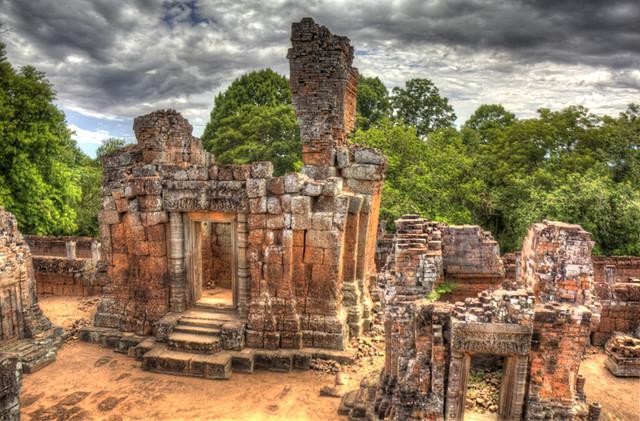 Angkor Wat Roofless Houses HDR
