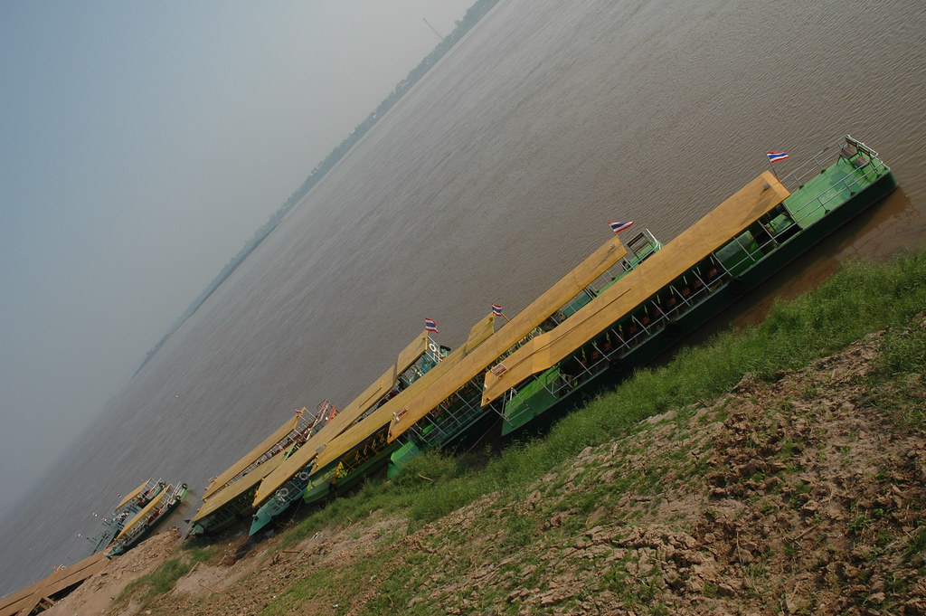 Boats lined up at Mukdahan