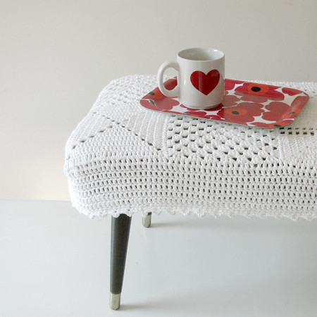 Crocheted footstool cover