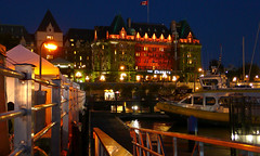 victoria into the night (Xuan Che) Tags: ocean city travel red sea summer canada west color castle water architecture night hotel harbor waterfront britishcolumbia august victoria pacificnorthwest renaissance fairmont 2010 panasoniclx2