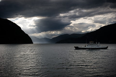 Ferry, sunlight, clouds (I'm Flickring) Tags: sea mountains norway ferry clouds norge scenary sunrays linge fjords saltwater underexposed sylte norddalsfjorden mreogromsdal stranda eidsdal fjord1 1424mm