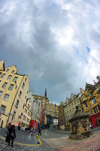 Scotland, Edinburgh, Edimbourg, Grassmarket below the castle 7