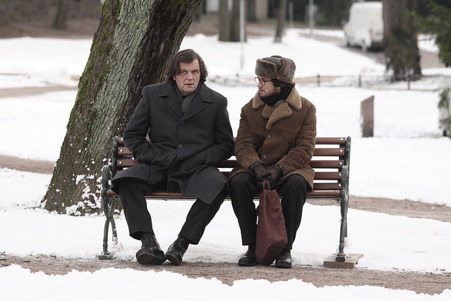 Emir Kusturica (L) and Guillaume Canet are espionage partners in crime in 'Farewell'.