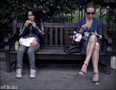 `334 (roll the dice) Tags: life street uk girls summer people urban food london art classic westminster bench square lunch photography glasses women funny pretty sitting natural eating candid gap strangers streetphotography sandwich seats unknown wisdom caught w1 westend unaware londonist uknown westens