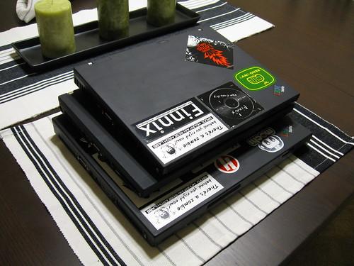 Three generations of ThinkPads