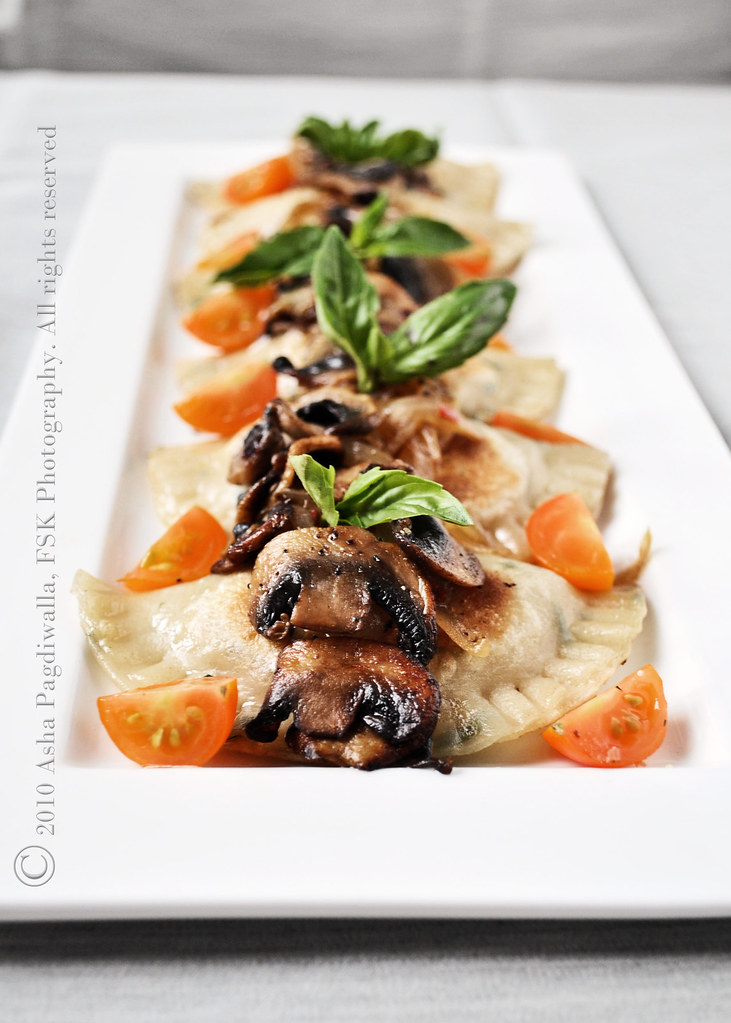 Caramelised Onion, Paneer and Basil Pierogis