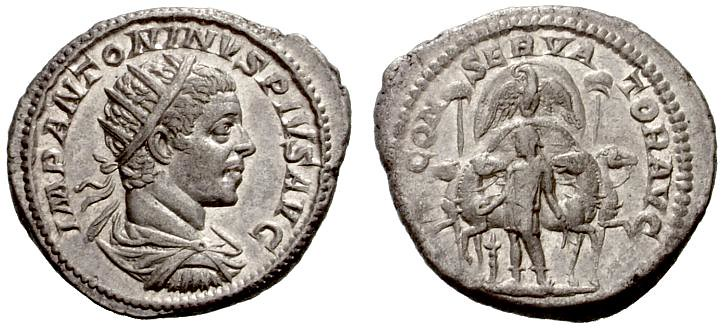 A Unique and Important Roman Silver Antoninianus of Elagabalus (218-222 C.E.), Depiciting the Stone of Emesa on the Reverse, Possibly the First Frontal Depiction of a Chariot in Roman Imperial Art