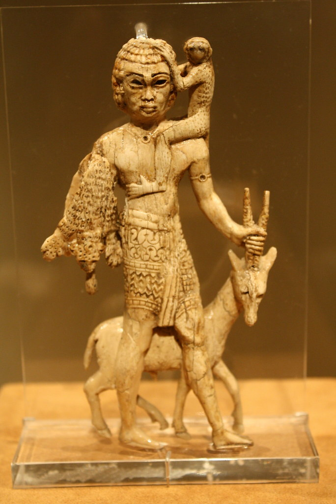 Neo-Assyrian, in Phoenician Style, Ivory Furniture Adornment of a Nubian with Oryx, Monkey, and Leopard Skin