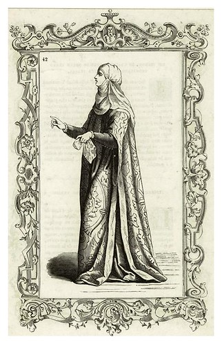 018-Mujer italiana siglo XIV-Habiti antichi et moderni di tutto il mundo- Cesare Vecellio