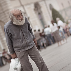 """I was a tip-tap dancer..."" (paolomezzera) Tags: street portrait man children torino play candid homeless joy poor streetphotography ritratto happyness piazzacastello barbone canonef85mmf18 felicit povero paulmezzer theauthorsplaza authorsclub streetphotographycandidstreetportrait"