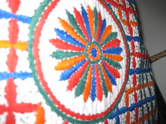 CUSHION COVER (RubyGoes) Tags: blue white black needlework stitch indian applique cushion saffron pawpaw kantha