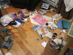 the sewing room floor this week...