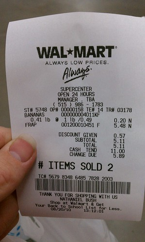 wal mart grimes des moines iowa wal mart receipt a photo on
