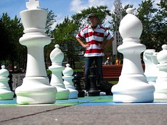 Perspective: It's the Law! (zJMac) Tags: park light sunlight st standing neck downtown king day pieces quebec pov montreal perspective goggles chess vivid catherine pepe forced wheres stripped judgement bishop waldo berri spheroid conic zjmac