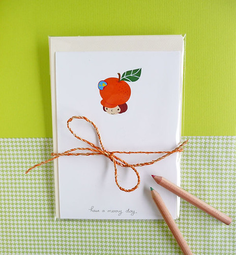 orange girl note card on MerryDay Etsy